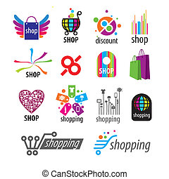 collection of vector logos and shopping discounts