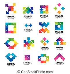 Collection of vector logos of abstract modules