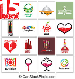 collection of vector logos of restaurants and cafes