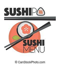 Collection of vector logos sushi.