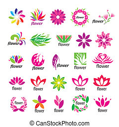 Collection of vector multicolored floral logos