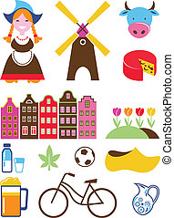 collection of vector Netherlands icons