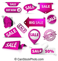 Collection of vector purple sale tickets, labels, stamps, stickers