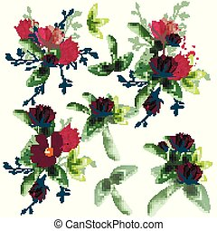 Collection of vector realistic wild flowers for design