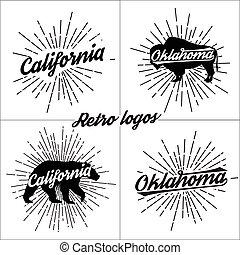 Collection of vector retro t-shirt logos