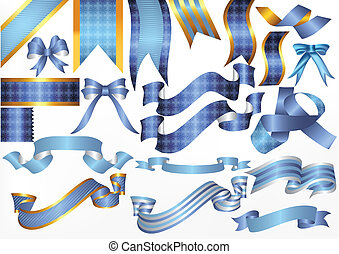 Collection of vector ribbons and bo