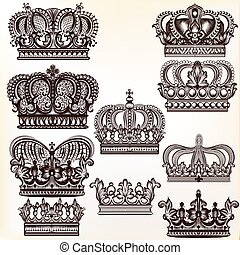 Collection of vector royal crowns for design.eps