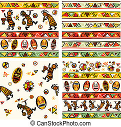 Collection of vector seamless background with african...