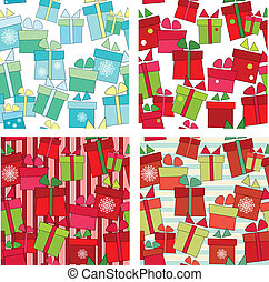 Collection of vector seamless background with gifts