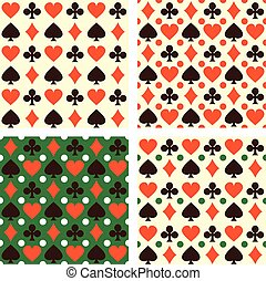 Collection of vector seamless backgrounds with playing cards symbols