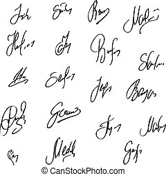 Collection of vector signatures fictitious Autograph.