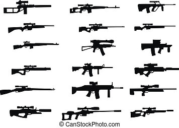 weapons with sniper scope - Collection of vector silhouettes...