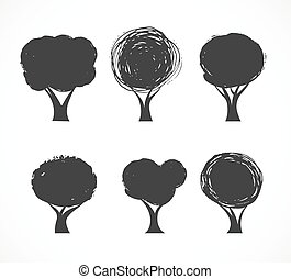 Collection of vector tree icons