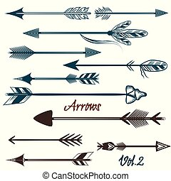 Collection of vector tribal arrows for design.eps -...