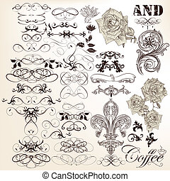 Collection of vector vintage callig - Vector set of...