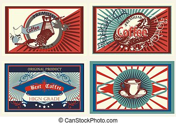 Collection of vector vintage coffee labels for design.eps
