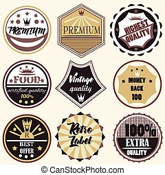 Collection of vector vintage labels premium quality badges