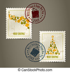Collection of vector vintage postage stamps