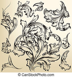 Collection of vector vintage swirls - Vector set of...