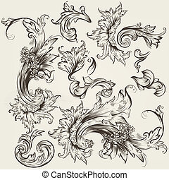 Collection of vector vintage swirls