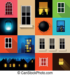 A set of various windows and window frames. Vector illustration