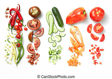 Collection of vegetables isolated on white background -...