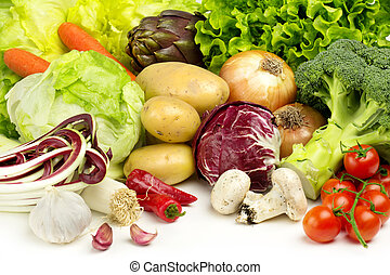 collection of veggies - collection of fresh vegetables on...