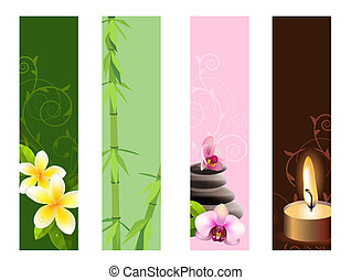 Collection of vertical banners with orchids,stones and bamboo