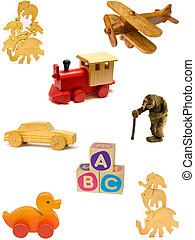 Collection of vintage and homemade wooden toys on white background.