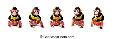 Collection of Vintage antique monkeys isolated on white...