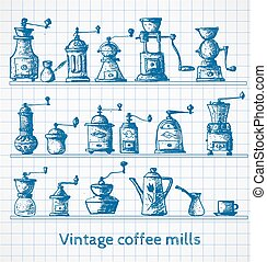 Collection of vintage coffee mills. Pen sketch.