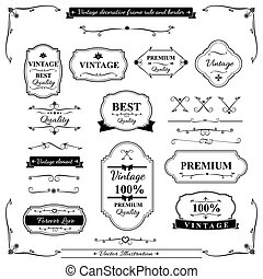 Collection of vintage frame border rule and design element