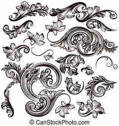 Collection of vintage hand drawn sw - Vector set of...