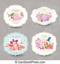 collection of vintage labels with flowers and butterfly