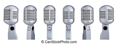 Collection of vintage microphones isolated on white background