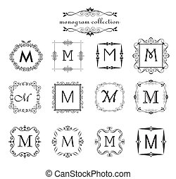 Collection of vintage monogram. Logo templates, vintage...