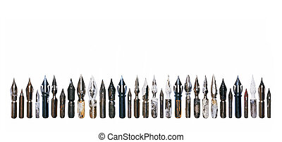 Collection of vintage nibs isolated on white background
