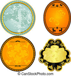 collection of vintage oval labels