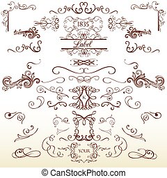 Collection of vintage page decorations flourishes and calligraphic elements in retro style.eps