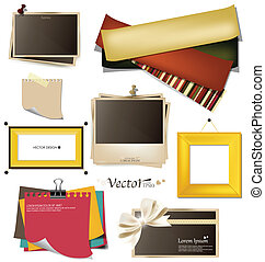 Collection of vintage photo frames, frames and paper on a white background. Template for the design in the style of the scrap-bookings. Vector illustration.