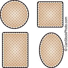 Collection of vintage polka dot frames, circle square, rectangle and oval on a transparent background, vector format