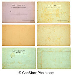 Collection of vintage postcards isolated on white background