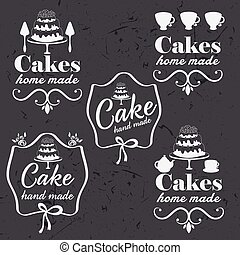 Collection of vintage retro bakery logo labels on chalkboard