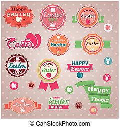 vintage retro Easter labels