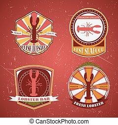Lobster restaurant labels,