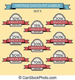 Collection of vintage retro grunge sale labels. Vector badges set.