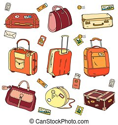 Collection of vintage travel suitcases with stickers -...
