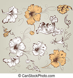 Collection of vintage vector floral - Vector set of hand...