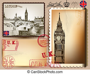 Collection of vintage vector postcards with detailed London...