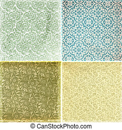 Collection of vintage wallpaper pattern textures -...